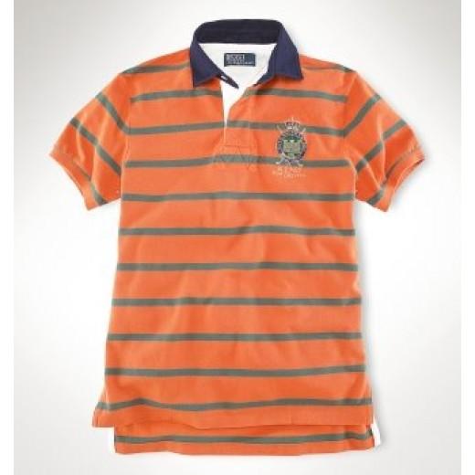Camisa Polo Laranja Listrada Stripe Ralph Lauren - Cod 0055